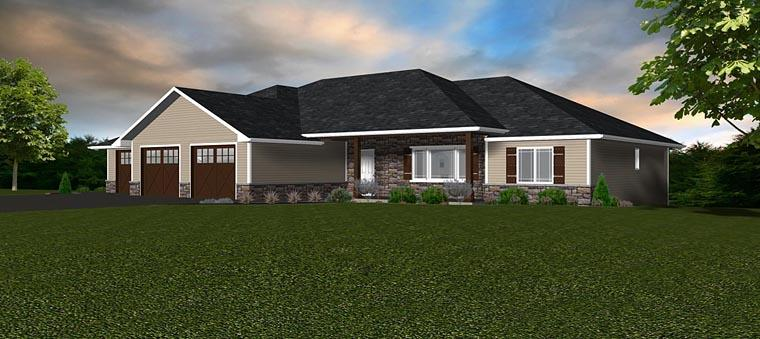 Craftsman, Traditional House Plan 50906 with 3 Beds, 2 Baths, 3 Car Garage Elevation