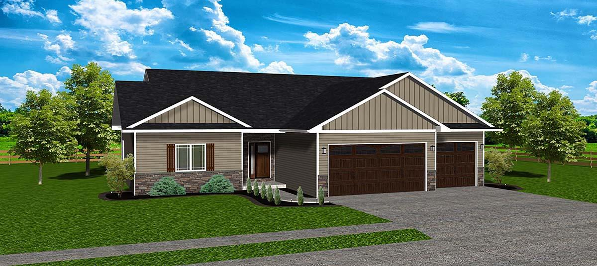 Ranch, Traditional House Plan 50917 with 3 Beds, 2 Baths, 2 Car Garage Elevation