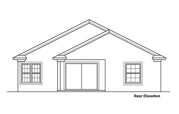 Narrow Lot, One-Story, Southwest House Plan 51151 with 2 Beds, 2 Baths, 1 Car Garage Rear Elevation