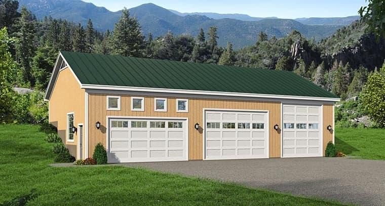 5 Car Garage Plan 51442, RV Storage Elevation