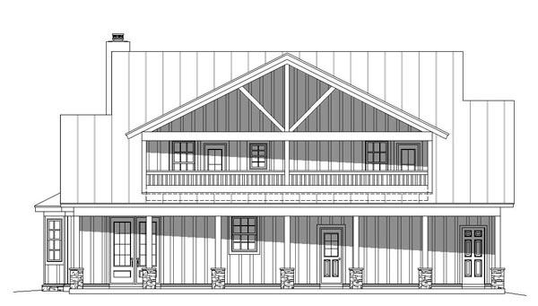 Cottage, Country, Southern, Traditional House Plan 51457 with 3 Beds, 4 Baths Rear Elevation