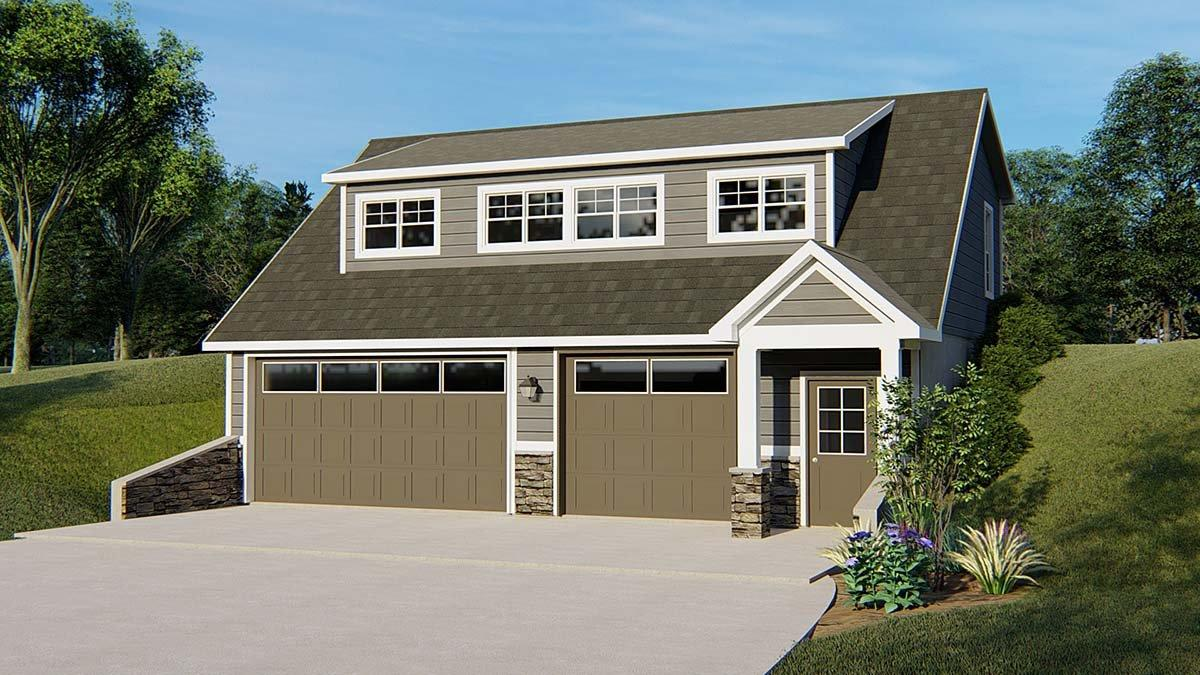 Bungalow, Cottage, Country, Craftsman, Tudor 2 Car Garage Apartment Plan 51820 with 2 Beds, 2 Baths Elevation
