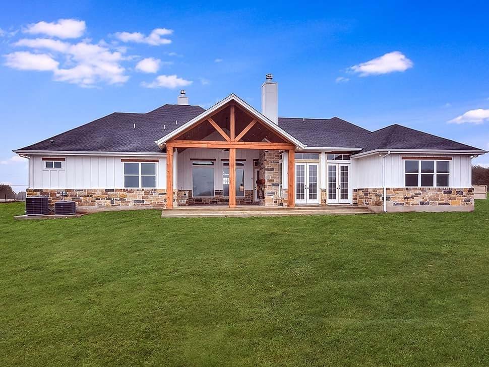 Cottage, Craftsman, Southern House Plan 51978 with 5 Beds, 4 Baths, 3 Car Garage Rear Elevation