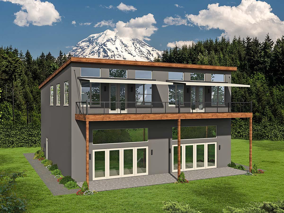 Contemporary, Modern Multi-Family Plan 52105 with 5 Beds, 4 Baths, 4 Car Garage Elevation