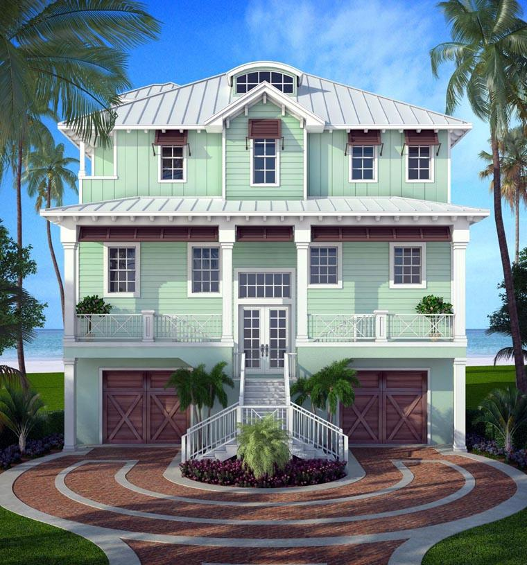 Florida House Plan 52906 with 5 Beds, 4 Baths, 2 Car Garage Elevation