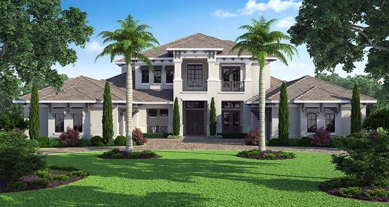 Coastal, Contemporary House Plan 52910 with 5 Beds, 7 Baths, 4 Car Garage Elevation