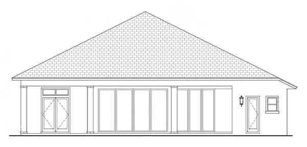 Coastal, Florida, Mediterranean House Plan 52919 with 4 Beds, 5 Baths, 3 Car Garage Rear Elevation