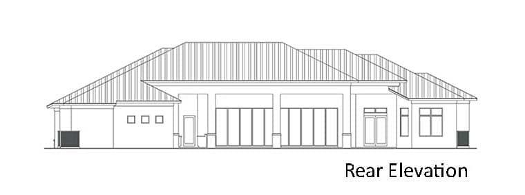 Coastal, Contemporary, Florida, Mediterranean House Plan 52949 with 4 Beds, 5 Baths, 3 Car Garage Rear Elevation