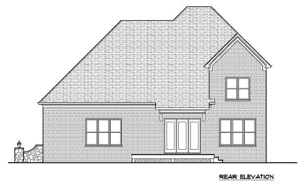 Tudor House Plan 53850 with 5 Beds, 4 Baths, 2 Car Garage Rear Elevation