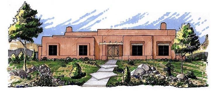 Santa Fe, Southwest House Plan 54611 with 3 Beds, 2 Baths, 2 Car Garage Elevation