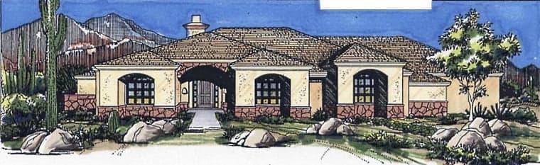 Southwest House Plan 54636 with 3 Beds, 3 Baths, 3 Car Garage Elevation