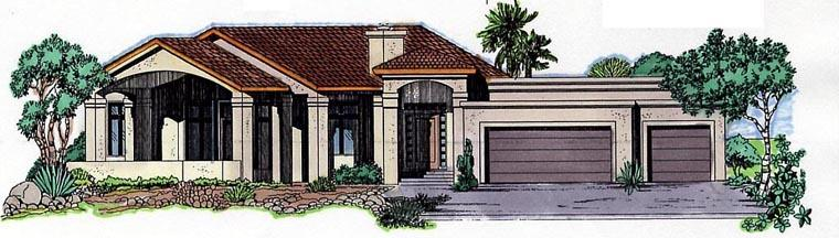 Florida House Plan 54637 with 3 Beds, 3 Baths, 3 Car Garage Elevation