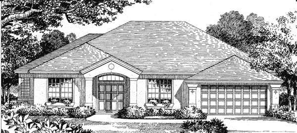 Florida, Mediterranean House Plan 54818 with 3 Beds, 2.5 Baths, 2 Car Garage Elevation