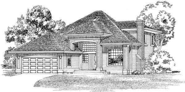 European House Plan 55291 with 3 Beds, 3 Baths, 2 Car Garage Elevation