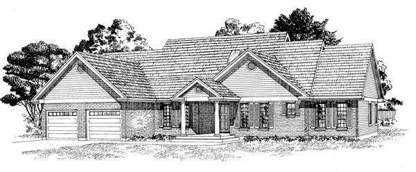 One-Story, Ranch House Plan 55292 with 3 Beds, 3 Baths, 2 Car Garage Elevation