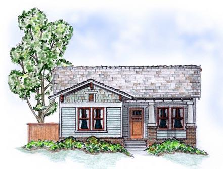 Bungalow, Craftsman House Plan 56504 with 2 Beds, 2 Baths, 2 Car Garage Elevation