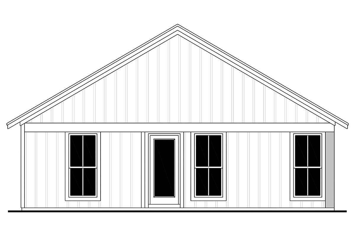 Country, Farmhouse, Traditional House Plan 56702 with 3 Beds, 2 Baths, 1 Car Garage Rear Elevation