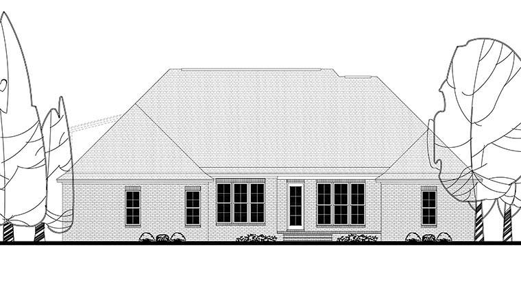 Country, French Country House Plan 56915 with 4 Beds, 2 Baths, 2 Car Garage Rear Elevation