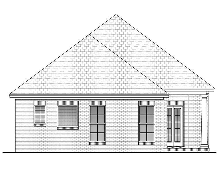 European, French Country House Plan 56947 with 3 Beds, 2 Baths, 2 Car Garage Rear Elevation