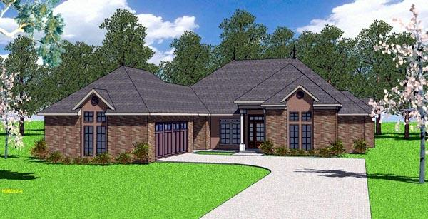 Contemporary, Florida, Southern House Plan 57898 with 4 Beds, 4 Baths, 2 Car Garage Elevation