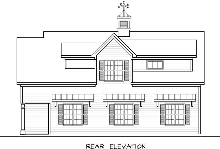 Colonial, Country, Southern Garage-Living Plan 58248 with 1 Beds, 1 Baths, 3 Car Garage Rear Elevation