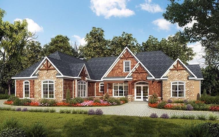 Craftsman House Plan 58257 with 3 Beds, 4 Baths, 2 Car Garage Elevation