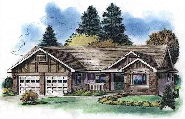 Tudor House Plan 58529 with 3 Beds, 2 Baths, 2 Car Garage Elevation