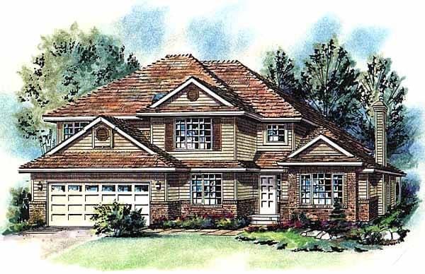European House Plan 58757 with 5 Beds, 3 Baths, 2 Car Garage Elevation