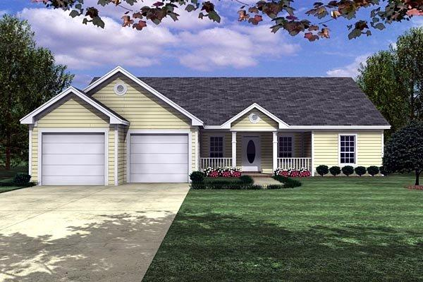 Ranch, Traditional House Plan 59002 with 3 Beds, 3 Baths, 2 Car Garage Elevation
