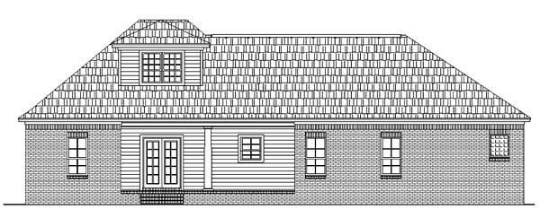 European, Ranch, Traditional House Plan 59015 with 3 Beds, 2 Baths, 2 Car Garage Rear Elevation