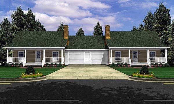 Bungalow, Country, Farmhouse, Ranch Multi-Family Plan 59046 with 2 Beds, 2 Baths, 2 Car Garage Elevation