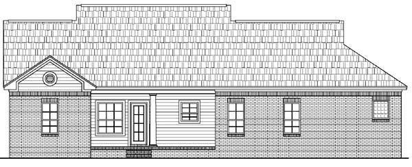 Country, Traditional House Plan 59050 with 3 Beds, 2 Baths, 2 Car Garage Rear Elevation