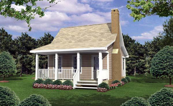 Cottage, Country, Southern House Plan 59109 with 1 Beds, 1 Baths Elevation