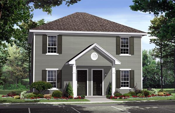 Country, Southern, Traditional Multi-Family Plan 59141 with 4 Beds, 4 Baths Elevation