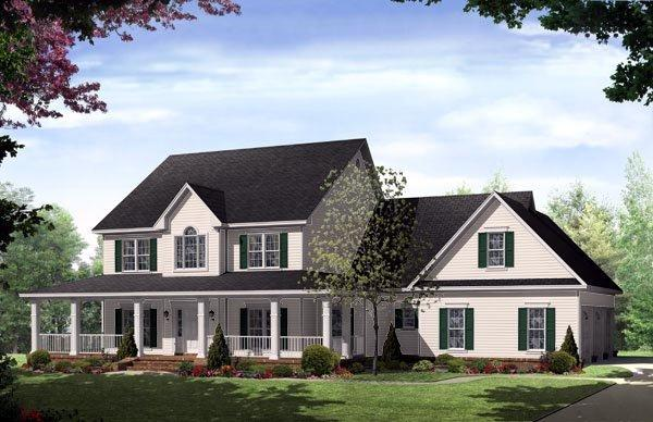 Country, Farmhouse, Traditional House Plan 59172 with 4 Beds, 4 Baths, 3 Car Garage Elevation