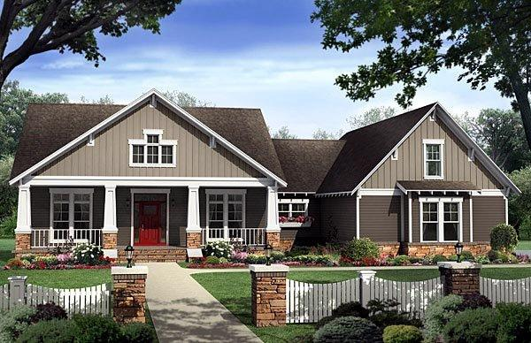 Bungalow, Country, Craftsman House Plan 59198 with 4 Beds, 3 Baths, 2 Car Garage Elevation