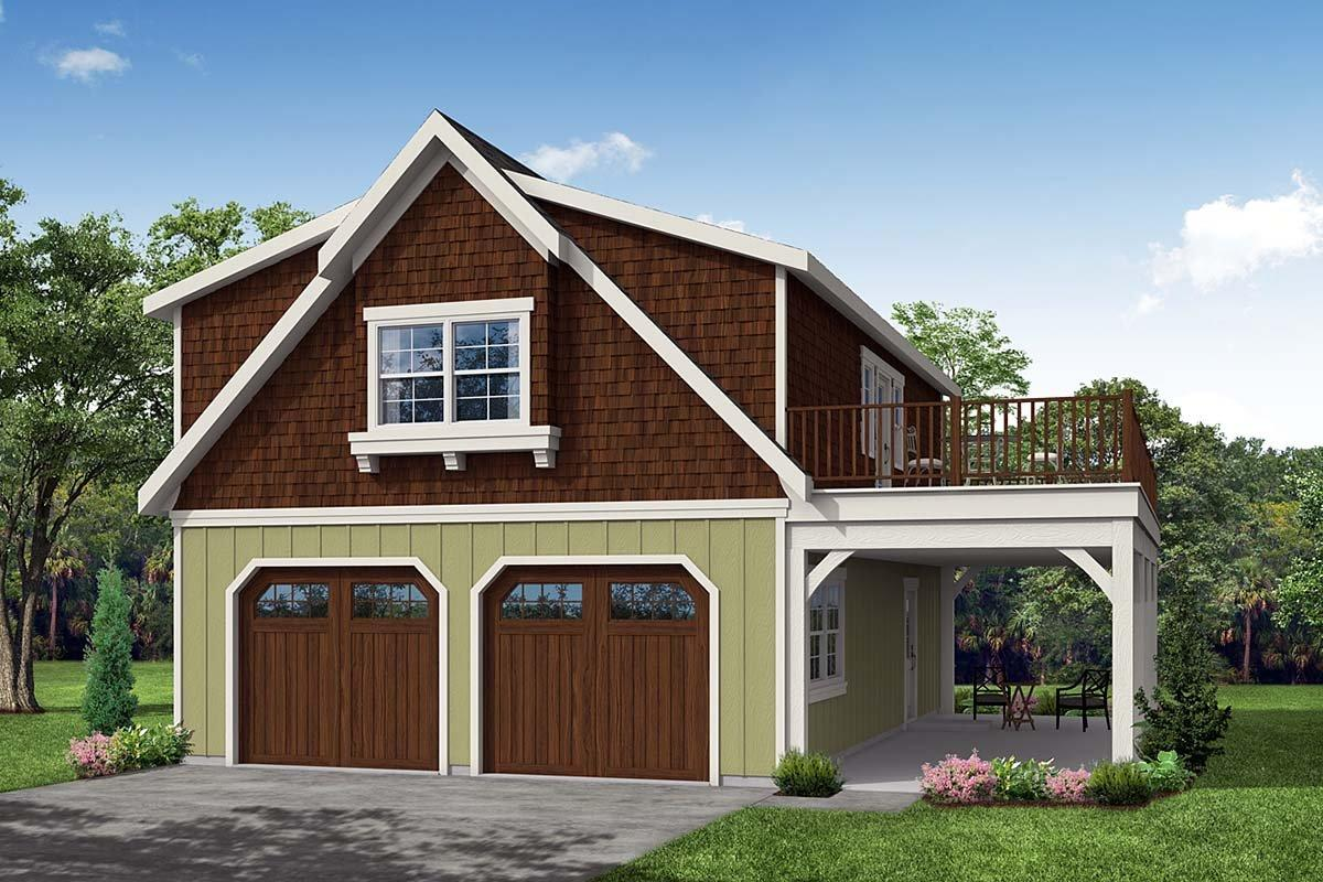 Bungalow, Cottage, Craftsman 2 Car Garage Apartment Plan 59475 Elevation