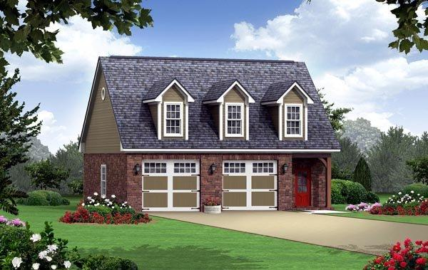 Country, Southern, Traditional 2 Car Garage Apartment Plan 59949 with 1 Beds, 1 Baths Elevation