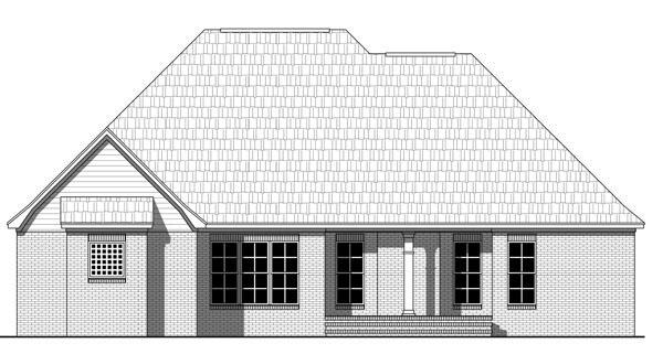 Colonial, European, Traditional House Plan 59971 with 3 Beds, 2 Baths, 2 Car Garage Rear Elevation