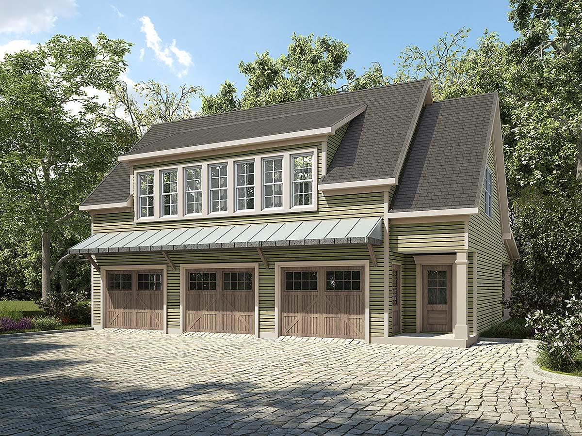 Country, Craftsman, Traditional 3 Car Garage Apartment Plan 60083 with 2 Beds, 2 Baths Elevation