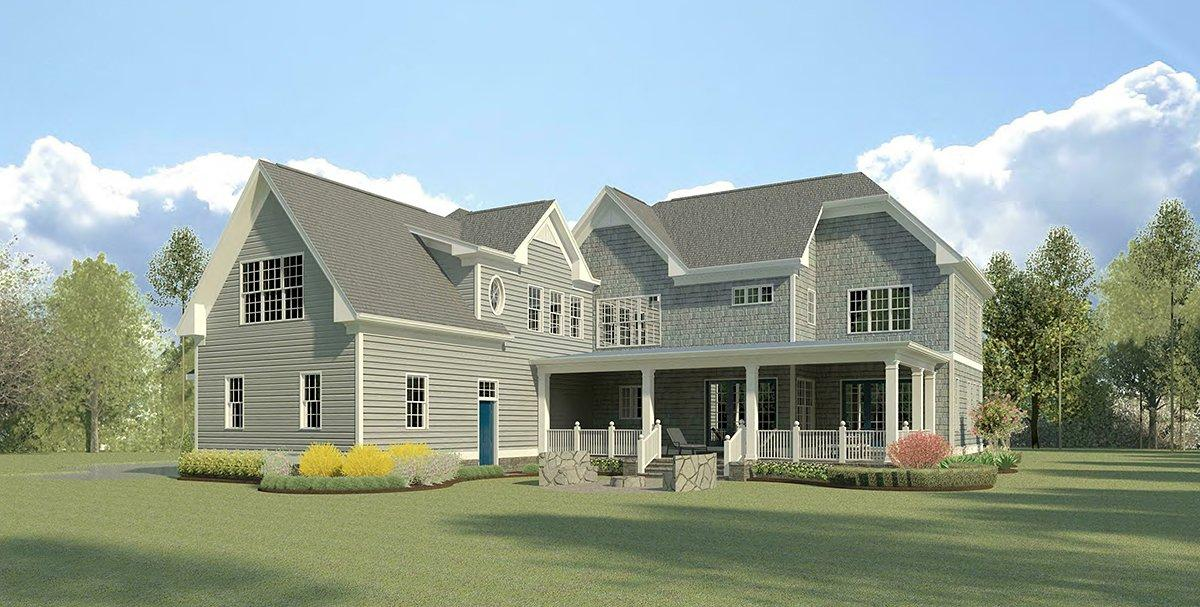 Cape Cod, French Country, Traditional House Plan 60090 with 4 Beds, 5 Baths, 3 Car Garage Rear Elevation