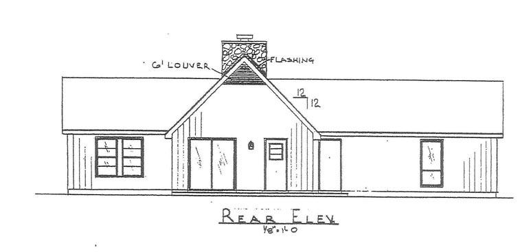 House Plan 60634 with 3 Beds, 2 Baths Rear Elevation