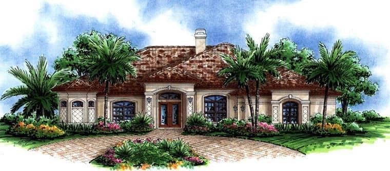 Florida, Mediterranean House Plan 60748 with 4 Beds, 3 Baths, 3 Car Garage Elevation