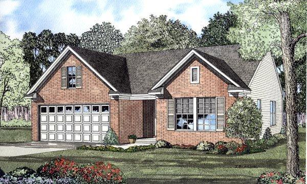 Narrow Lot, One-Story, Traditional House Plan 61207 with 3 Beds, 2 Baths, 2 Car Garage Elevation
