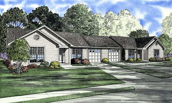 One-Story, Ranch Multi-Family Plan 61275 with 6 Beds, 2 Baths, 2 Car Garage Elevation