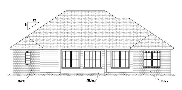 Traditional House Plan 61423 with 4 Beds, 3 Baths, 2 Car Garage Rear Elevation
