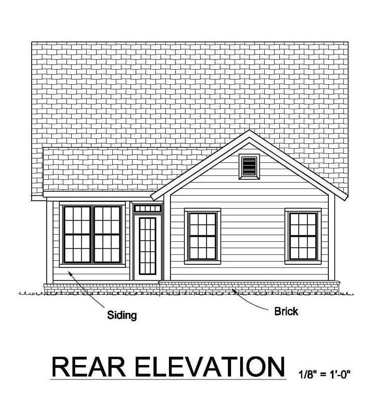 Country, Ranch, Traditional House Plan 61455 with 3 Beds, 2 Baths Rear Elevation