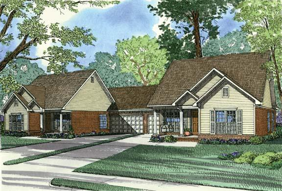 One-Story Multi-Family Plan 62373 with 6 Beds, 4 Baths, 2 Car Garage Elevation