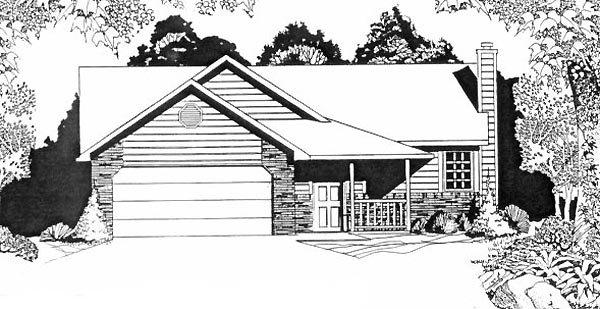Narrow Lot, One-Story, Traditional House Plan 62507 with 2 Beds, 2 Baths, 2 Car Garage Elevation