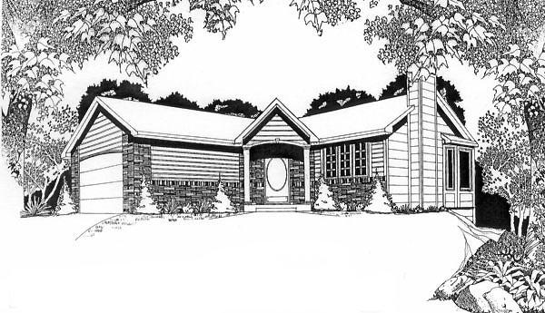 Traditional House Plan 62509 with 2 Beds, 2 Baths, 2 Car Garage Elevation